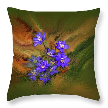 Hepatica Nobilis Painterly #h4 Throw Pillow