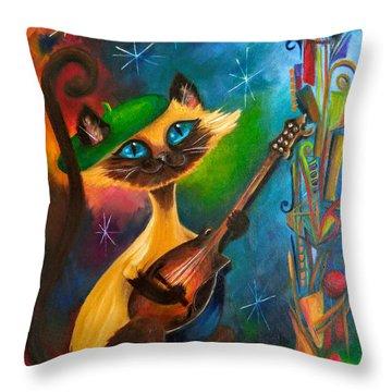 Hepcat Meowndolin Throw Pillow