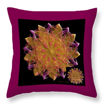 Happiness Fractal Energy Mandala Throw Pillow