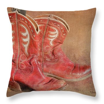 Her Boots Throw Pillow