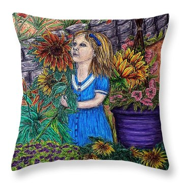 Her First Garden Throw Pillow
