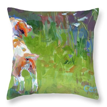Her First Point Throw Pillow by Kimberly Santini