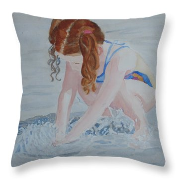 Her Own Little Fountain Throw Pillow by Jenny Armitage