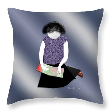Her Picture Book Throw Pillow by Asok Mukhopadhyay