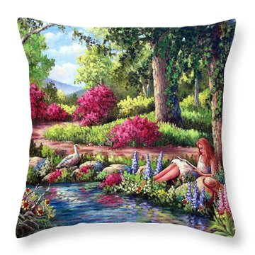 Her Reading Hideaway Throw Pillow by David G Paul