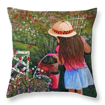 Her Secret Garden Throw Pillow