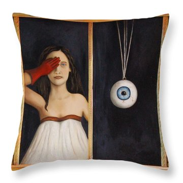 Her Wandering Eye Throw Pillow by Leah Saulnier The Painting Maniac