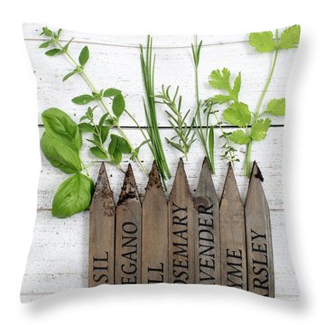 Throw Pillow featuring the photograph Herb Garden by Rebecca Cozart