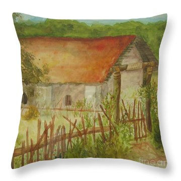 Throw Pillow featuring the painting Herb Garden by Vicki  Housel