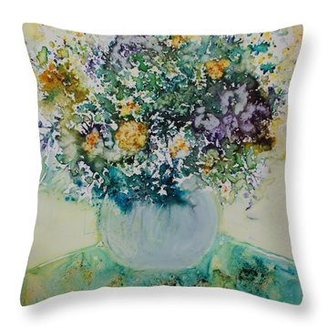 Throw Pillow featuring the painting Herbal Bouquet by Joanne Smoley