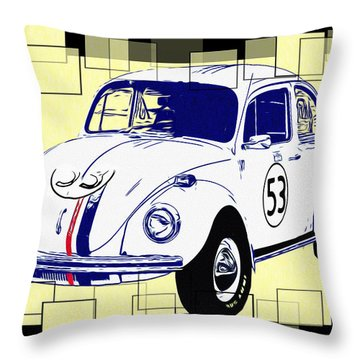Herbie The Love Bug Throw Pillow by Bill Cannon