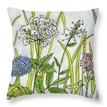 Herbs And Flowers Throw Pillow