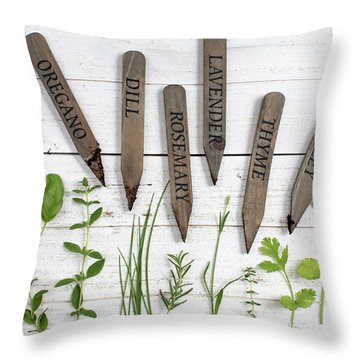 Throw Pillow featuring the photograph Herbs by Rebecca Cozart