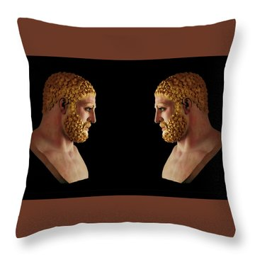 Throw Pillow featuring the mixed media Hercules - Blondes by Shawn Dall