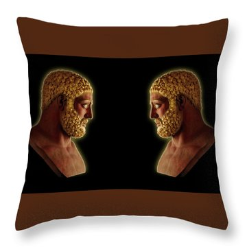 Throw Pillow featuring the mixed media Hercules - Golden Gods by Shawn Dall