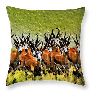 Herd 2 Throw Pillow by Bruce Iorio