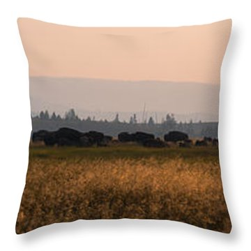 Throw Pillow featuring the photograph Herd Of Bison Grazing Panorama by Michael Ver Sprill