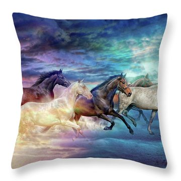 Herd Of Horses In Pastel Throw Pillow