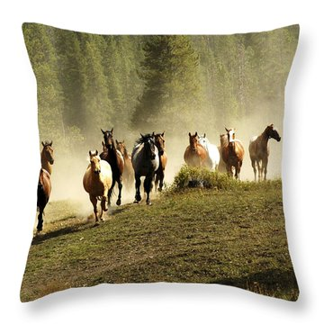 Herd Of Wild Horses Throw Pillow