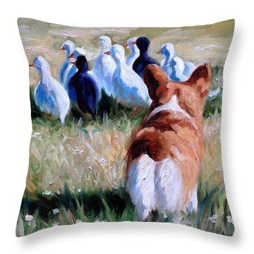 Herding Ducks Throw Pillow