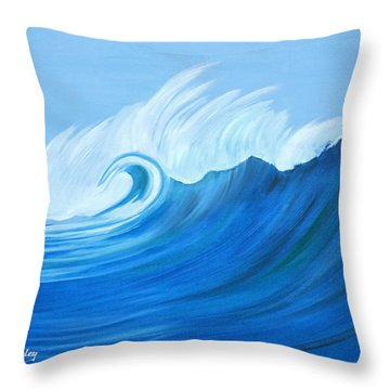 Throw Pillow featuring the painting Here Comes A Big One by Anne Beverley-Stamps
