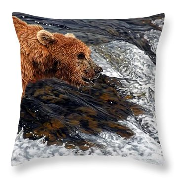 Here Comes Dinner Throw Pillow by Linda Becker