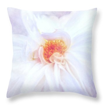 Here Comes The Bride - A Beautiful White Dahlia Throw Pillow