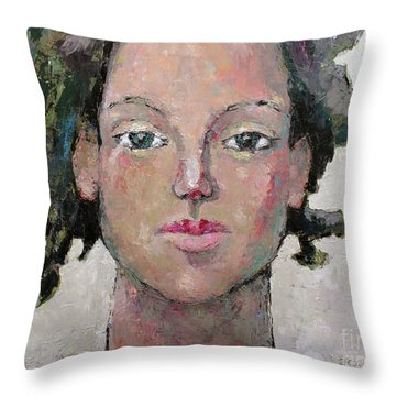 Throw Pillow featuring the painting Here I Am by Becky Kim