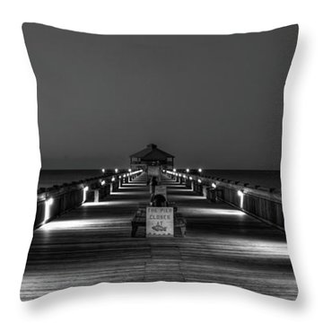 Throw Pillow featuring the photograph Here It Comes Folly Beach Pier Sunrise Art by Reid Callaway