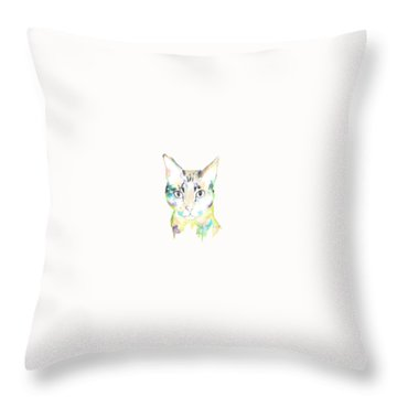 Here Kitty T-shirt Throw Pillow by Herb Strobino