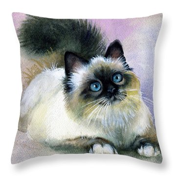 Here Kitty Throw Pillow by Karen Showell