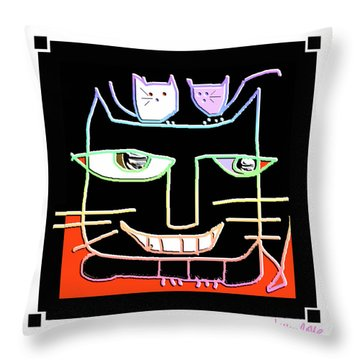 Here,  Kitty Kitty Throw Pillow