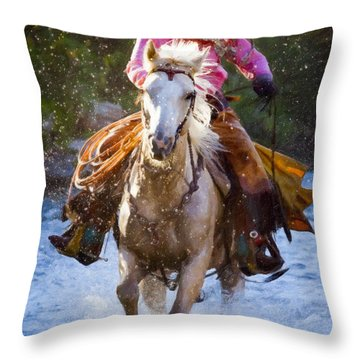 Here She Comes Throw Pillow by Janet Fikar