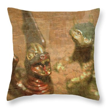 ....here There Be Dragons Throw Pillow by Martina Fagan