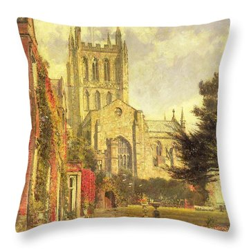 Hereford Cathedral Throw Pillow by John William Buxton Knight