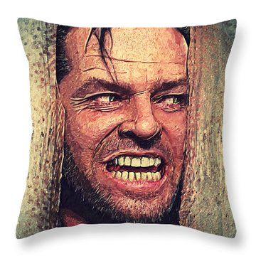 Here's Johnny - The Shining  Throw Pillow by Taylan Apukovska