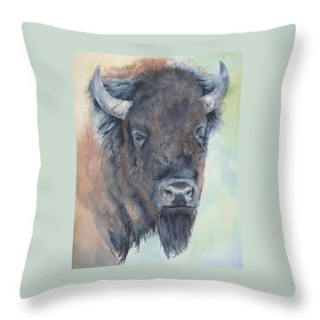 Here's Looking At You - Bison Throw Pillow