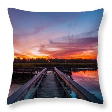 Throw Pillow featuring the photograph Heritage Boardwalk Twilight by Chris Bordeleau