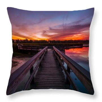 Throw Pillow featuring the photograph Heritage Boardwalk Twilight - Square by Chris Bordeleau