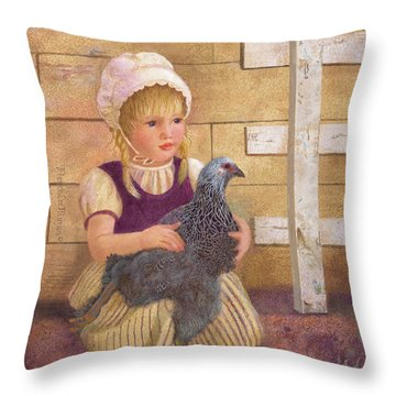Throw Pillow featuring the painting Heritage Hen Brahma Chicken by Nancy Lee Moran