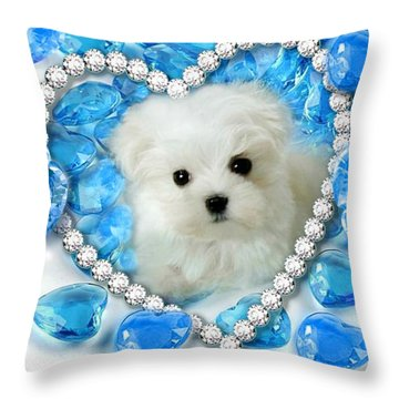 Hermes The Maltese And Blue Hearts Throw Pillow
