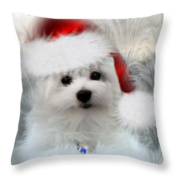 Hermes The Maltese At Christmas Throw Pillow