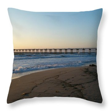 Hermosa Beach Pier At Sunset Throw Pillow
