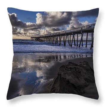 Hermosa Beach Pier Throw Pillow