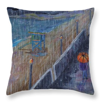 Throw Pillow featuring the painting Hermosa Beach Rain by Jamie Frier
