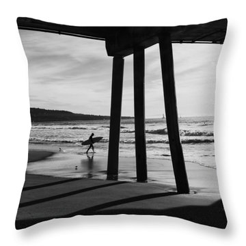 Throw Pillow featuring the photograph Hermosa Surfer Under Pier by Michael Hope