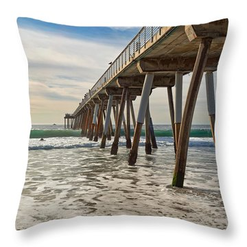 Throw Pillow featuring the photograph Hermosa Under The Pier by Michael Hope