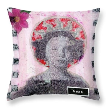 Throw Pillow featuring the mixed media Hero by Desiree Paquette