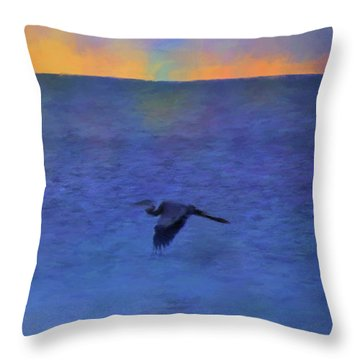 Throw Pillow featuring the photograph Heron Across The Sea by Jan Amiss Photography