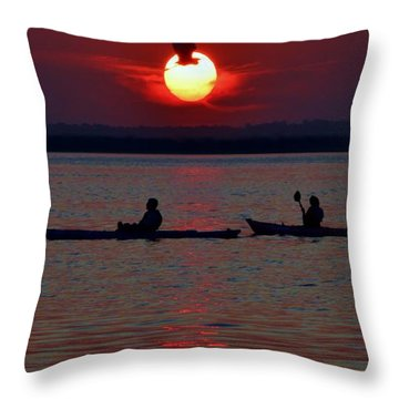 Heron And Kayakers Sunset Throw Pillow